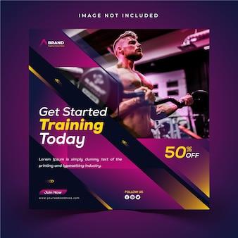 Plantilla creativa de banner web y publicación de instagram para gimnasio y fitness