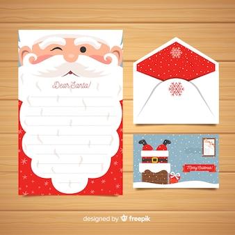 Plantilla creativa de carta y sobre de navidad
