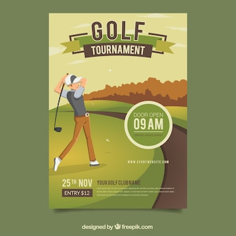 Plantilla creativa de cartel de golf