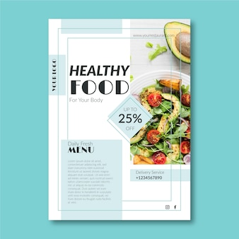 Plantilla creativa para cartel de restaurante de comida saludable