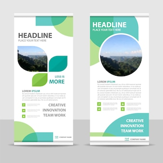 Plantilla creativa de banner roll up verde
