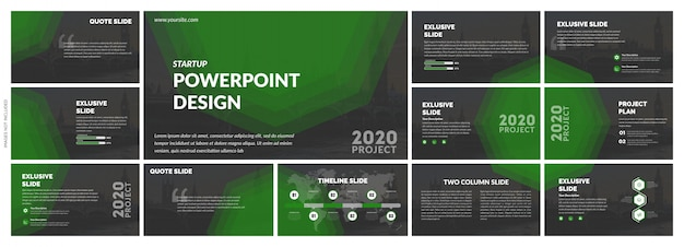 Plantilla creativa de diapositivas verdes