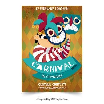 Plantilla creativa de flyer para fiesta de carnaval