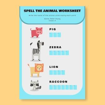 Plantilla creativa de hoja de trabajo de ortografía de animales de prekínder infantil