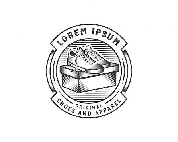 Plantilla creativa de la insignia del logotipo de la zapatilla de deporte