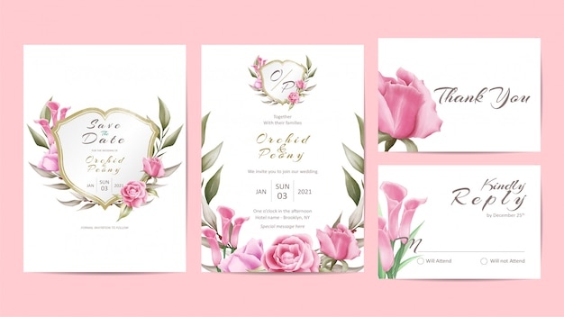 Plantilla creativa de la invitación de la boda fijada con floral