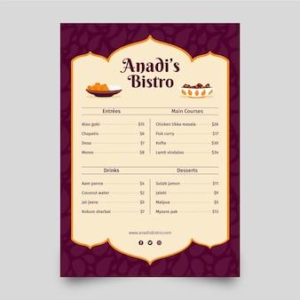Plantilla creativa de menú indio plano