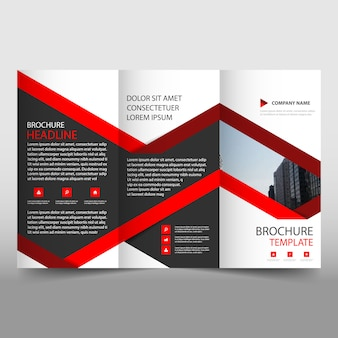 Plantilla creativa roja de folleto de negocios tríptico