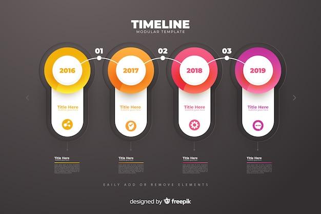 Plantilla de crecimiento de gráficos de línea de tiempo de infografía