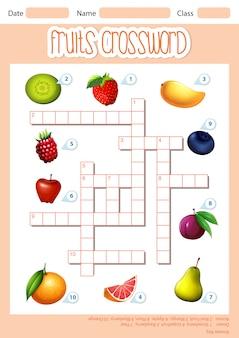 Una plantilla de crucigrama de frutas