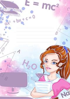 Plantilla para cuaderno o bloc de notas. chica estudiante, inscripciones, elementos de ejercicios educativos.