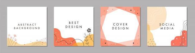 Plantilla cuadrada abstracta de moda con concepto colorido.