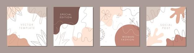 Plantilla cuadrada abstracta de moda con concepto de naturaleza.
