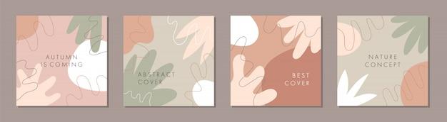 Plantilla cuadrada abstracta de moda con concepto de otoño