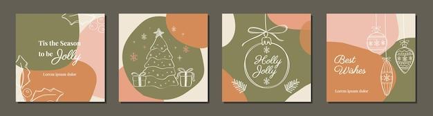 Plantilla cuadrada de adornos de feliz navidad con ilustración vectorial