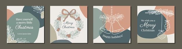 Plantilla cuadrada de adornos navideños de vacaciones con ilustración vectorial