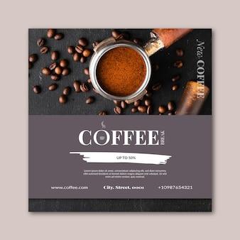 Plantilla cuadrada de flyer de café
