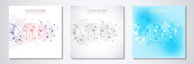Plantilla cuadrada para portada o folleto, con fondo de moléculas y cadena de adn.