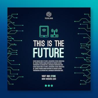 Plantilla cuadrada de tecnología y futuro volante