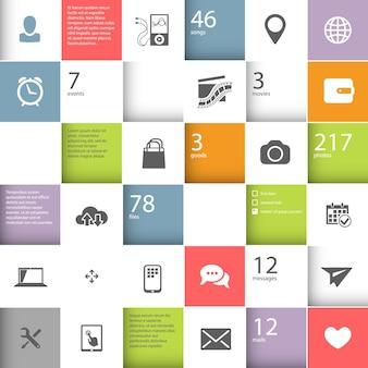 Plantilla de cuadrados infográficos con lugar para su contenido