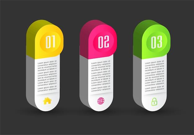 Plantilla de cuadro de texto 3d moderno, infografía de banner