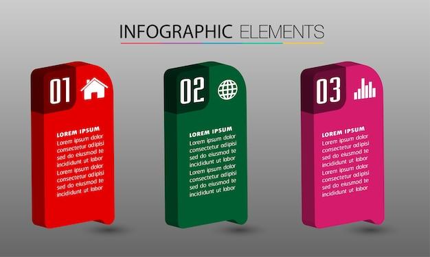 Plantilla de cuadro de texto de infografía 3d moderno