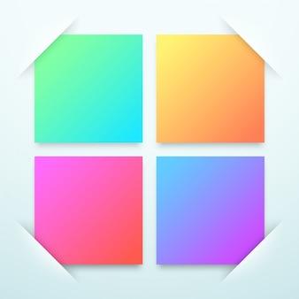 Plantilla de cuadros de texto en blanco cuadrado colorido