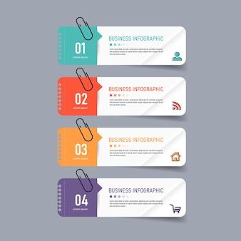 Plantilla de cuatro opciones de infografía creativa