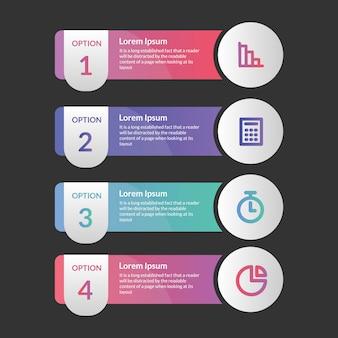 Plantilla de cuatro pasos del elemento de infografía