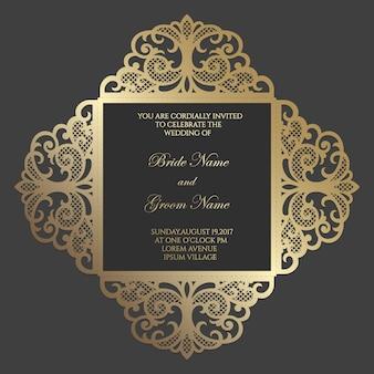 Plantilla de cuatro pliegues con corte láser adornado. diseño de sobre de invitación de boda.