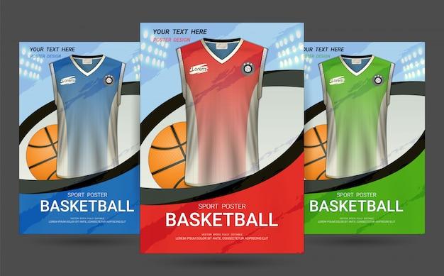 Plantilla de la cubierta del aviador y del cartel con diseño del jersey del baloncesto.