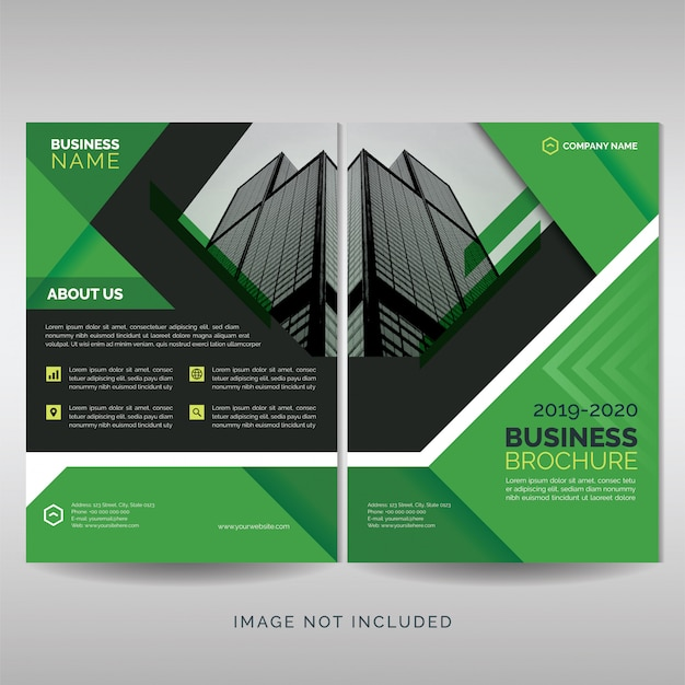 Plantilla de cubierta de folleto de negocio verde