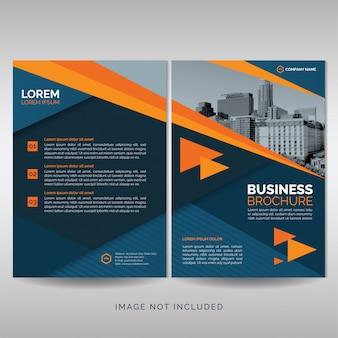 Plantilla de cubierta de folleto de negocios con detalles naranjas.
