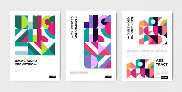 Plantilla de cubierta geométrica abstracta moderna con estilo bauhaus