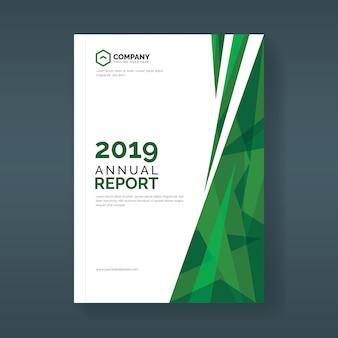 Plantilla de cubierta de informe anual con formas geométricas abstractas verdes