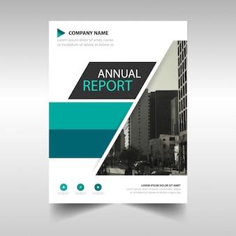 Plantilla de cubierta de informe anual verde y negro