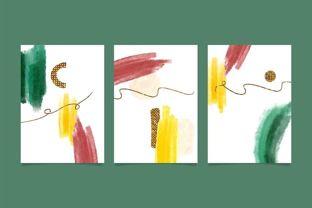 Plantilla de cubiertas de formas abstractas de acuarela