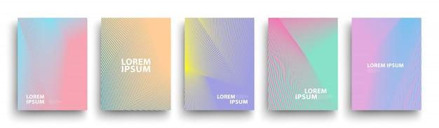 Plantilla de cubiertas modernas simples, conjunto de gradientes geométricos mínimos de semitono
