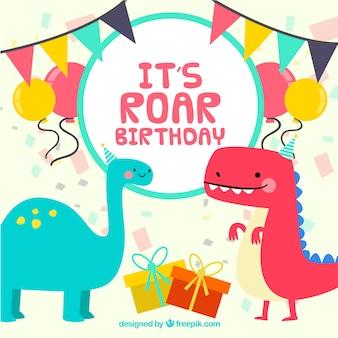 Plantilla de cumpleaños con dinosaurios graciosos