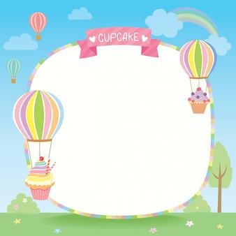 Plantilla de cupcakes de globo