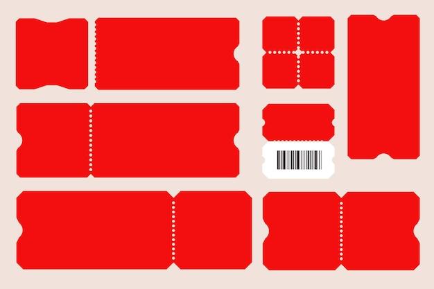 Plantilla de cupón de corte rojo vacío de boleto en blanco con código de barras.