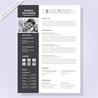 Plantilla de currículum en blanco y negro