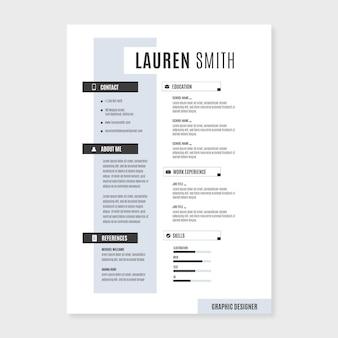 Plantilla de currículum de estilo minimalista