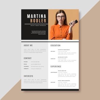 Plantilla de currículum minimalista con foto