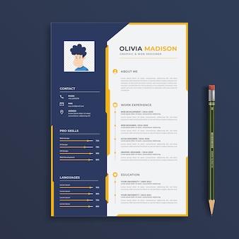 Plantilla de currículum vitae de diseñador gráfico y web