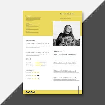 Plantilla de curriculum vitae minimalista