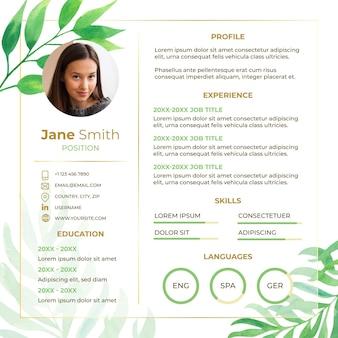 Plantilla de curriculum vitae online boda con hojas