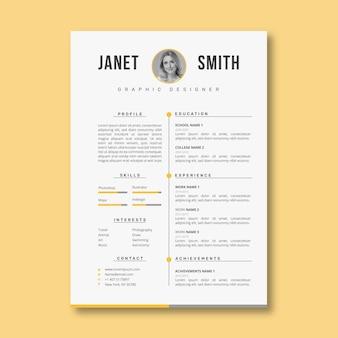 Plantilla de curriculum vitae profesional minimalista