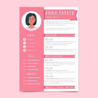Plantilla de curriculum vitae rosa