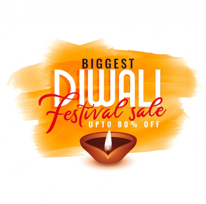 Plantilla de acuarela diwali para venta de festival